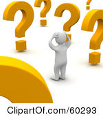 60293-Royalty-Free-RF-Clipart-Illustration-Of-A-Confused-3d-Blanco-Man-Character-Looking-At-Large-Question-Marks